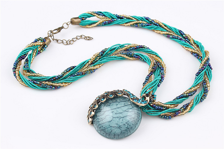 ZOSHI Blue natural crystal stone pendant necklace fashion peacock pendant necklace for women jewelry 28
