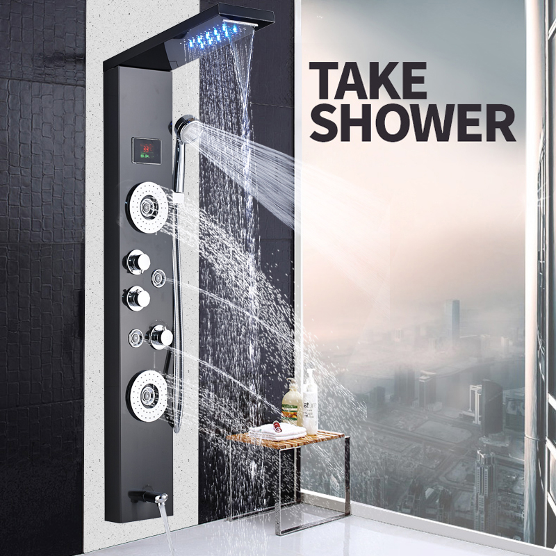Brushed Nickel Shower Panel Waterfall Rain Bath Shower Column Wall Hang Body Massage Jets Shower Faucet Mixer with Handshower brushed nickel shower panel wall mount waterfall rain shower mixer faucet stainless steel spa massage sprayer shower column tap