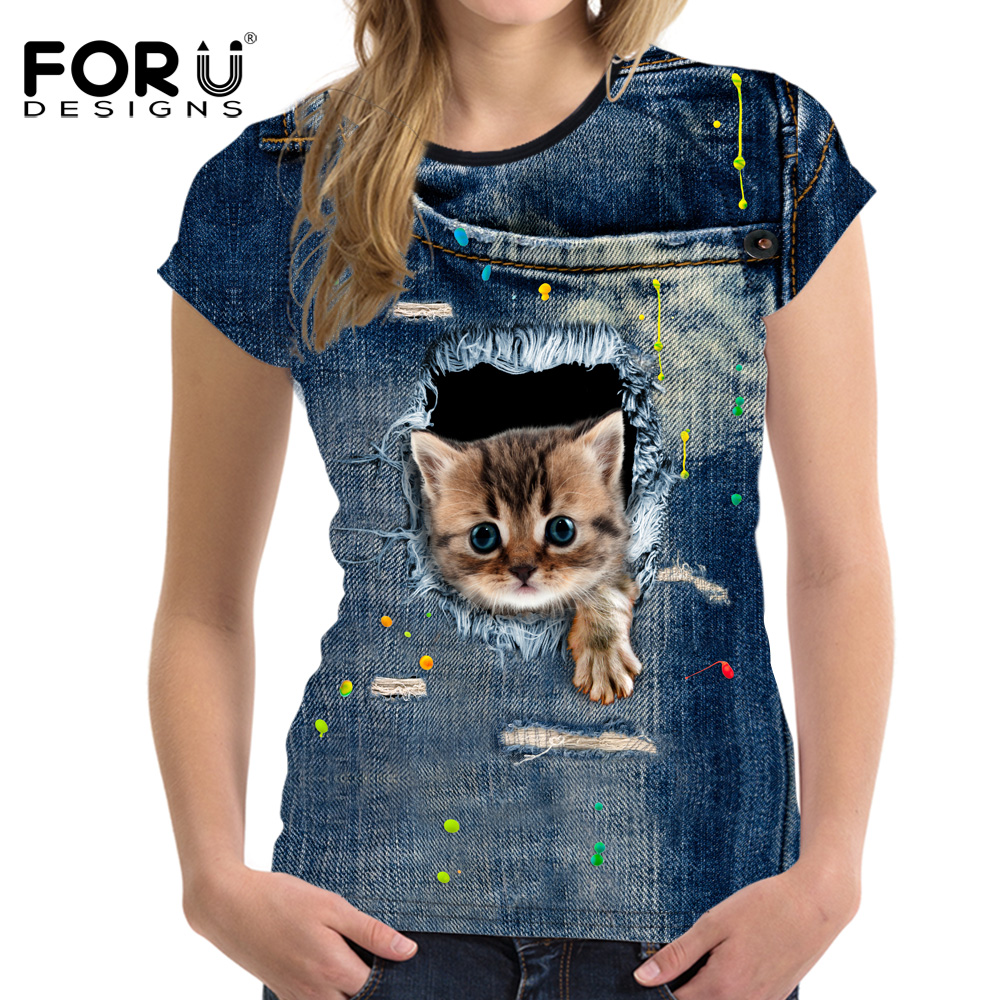 FORUDESIGNS New 3D Jeans Cat Dog T Shirt Women Shirts Fashion Brand Woman Casual Tee Tops Female O Neck T Shirt For Girls Cloth