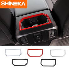SHINEKA Interior Mouldings ABS Car Armrest Box Cup Holder Decoration Ring Cover Trim Stickers For Ford F150 2016+
