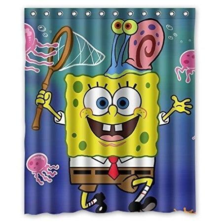 Custom Bath Curtains Spongebob Cartoon Cute 160x180cm Fabric Bathroom Accessories Shower Curtain With Hooks In From Home Garden On