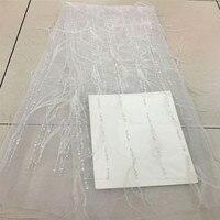 Белый розовый Африки кружевной ткани перо вышитые Французский органзы кружевная ткань Diy ткань HJ406 2