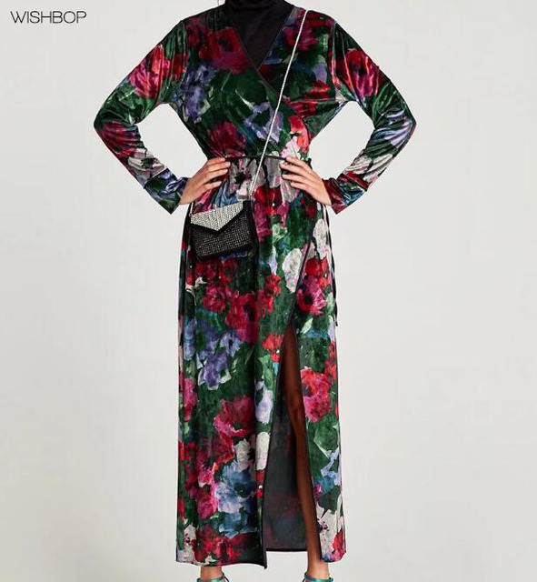 2017AW Woman NEW Fashion Midi Colored Floral Printed Velvet Kimono Wrap  Dress Tied Bow Side V-neck long sleeves Front Vent ddbef9f330c4