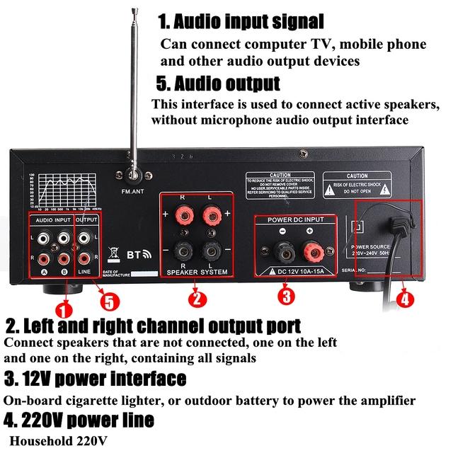 bluetooth 2.0 Channel 2000W Audio Power HiFi Amplifier 326BT 12V/220V AV Amp Speaker with Remote Control for Car Home