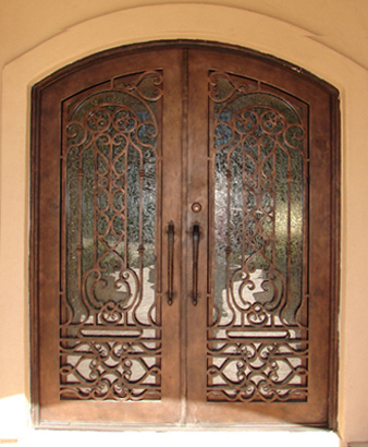 Exceptionnel Finished Wrought Iron Exterior Doors With Wood Design For ROT 0211 Iron Front  Door And