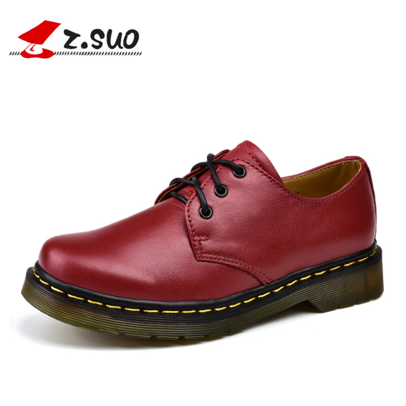 Z. Suo women's shoes, spring and autumn leather casual shoes, TPR non-slip wear-resistant soles, fashion solid color s 2016 spring child sport shoes leather boys shoes girls wear resistant casual shoes