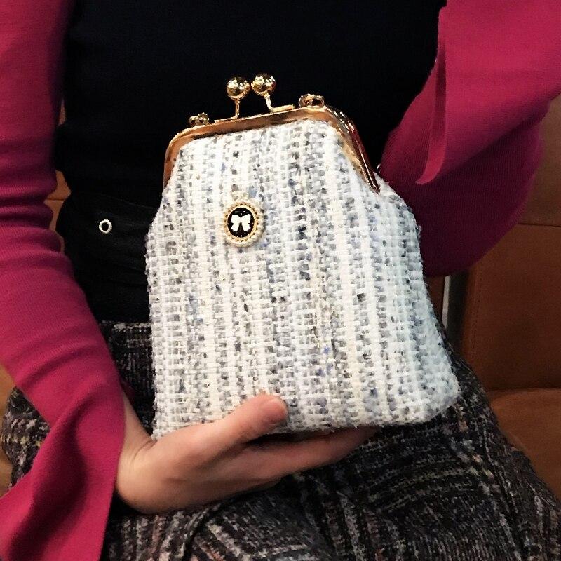 Professionnel bricolage fait main artisanat matériel paquet pour les femmes de mode Messenger sac à main (25x17x8 cm) métal-ouverture cadre sacs cadeau