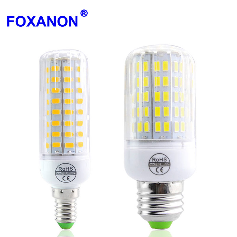 buy foxanon led e27 e14 light 5730 220v bulb corn 24 89leds 108leds lamp. Black Bedroom Furniture Sets. Home Design Ideas
