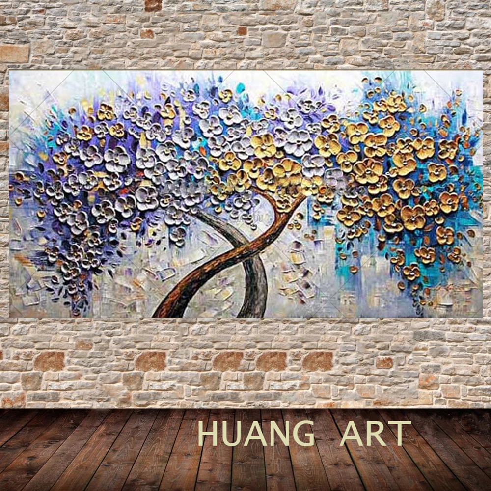 Hand Painted Palette Knife Art Purple Golden Flower Tree Oil Painting 1 Panel Wall Art On Canvas Decorative Home Decor Art Work