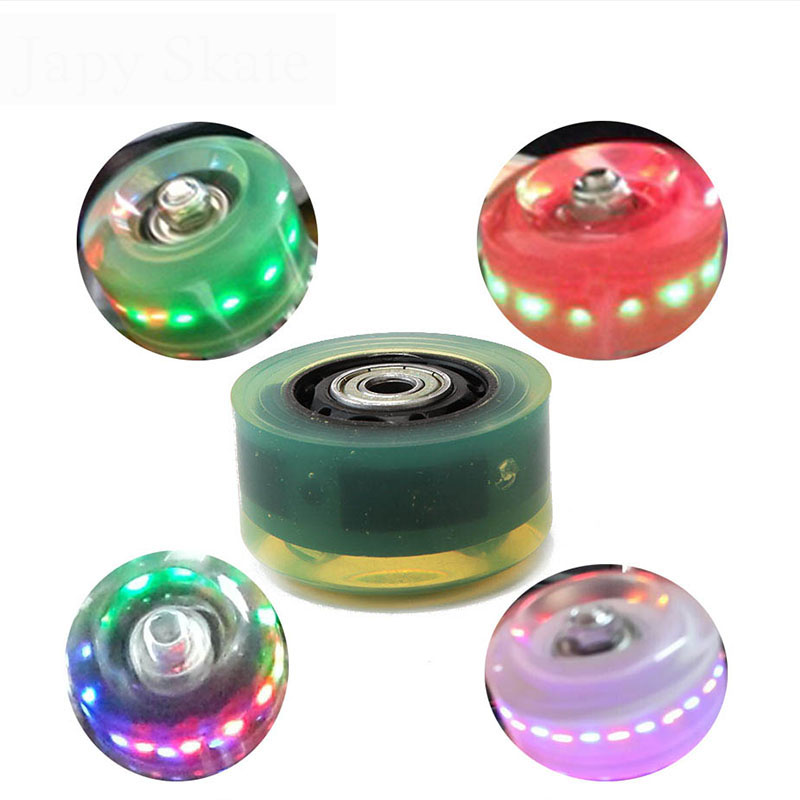 Hot Original Led Flashing Traditional Double Roller Skates Wheel Light Wheels With Bearings PU Round Roller