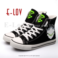 E LOV Black Hip Hop Casual Canvas Shoes Printed Hot Games Canvas Flat Shoe Unisex Street