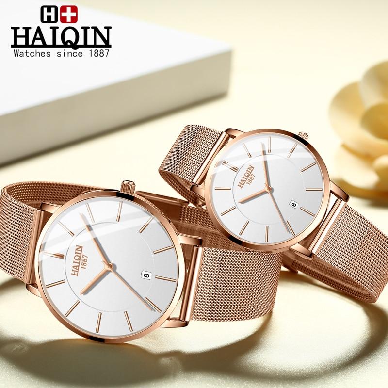HAIQIN WoMens Watches Top Brand Luxury Reloj De Dama Clock Ladies Wrist Watch Lady Gold Mesh Stainless Relogio Feminino 2019 New