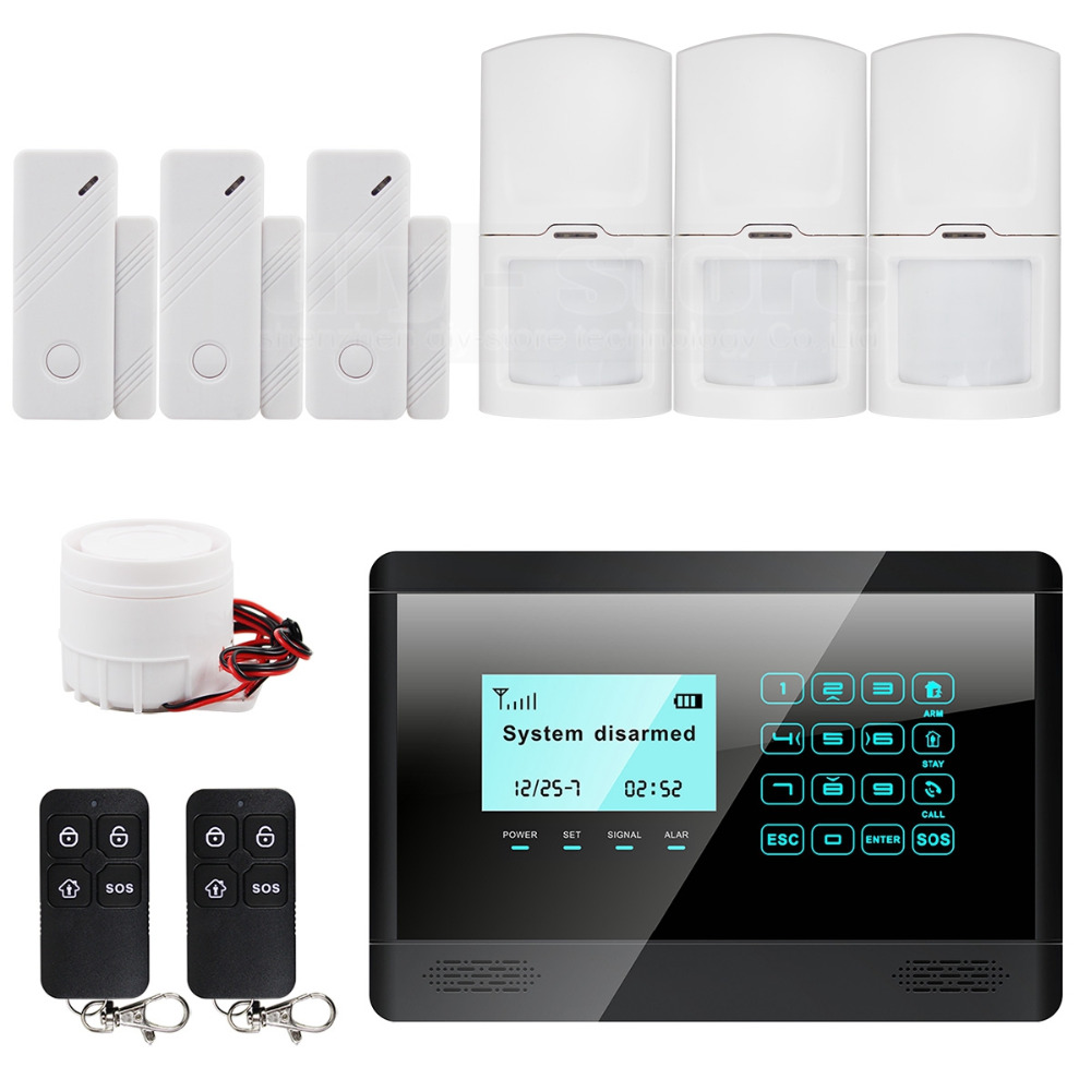 DIYSECUR Touch Keypad Wireless GSM SMS TEXT Auto dial Smart Home Security Alarm System LCD 850/900/1800/1900MHz M2BX