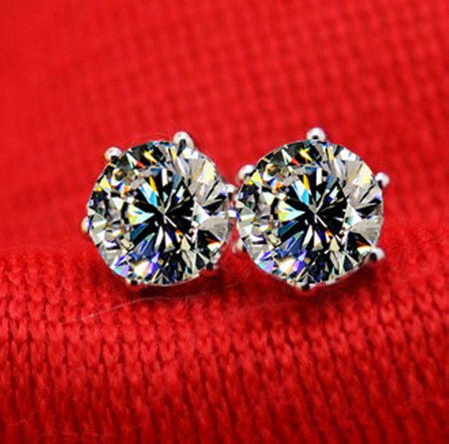 Vintage 6gs Setting Jewelry Solid 750 Gold Stud 4ct Synthetic Diamonds Engagement Earrings For