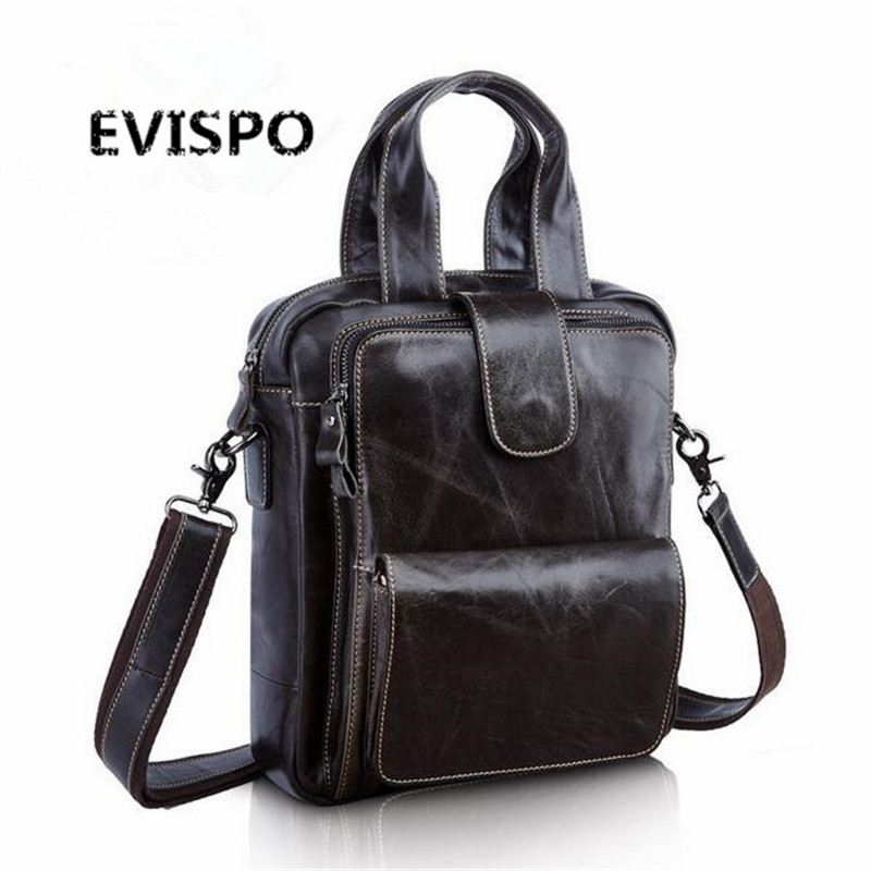 2017 Genuine Leather Man Bag Business Crossbody Bags Portable Briefcase Laptop Handbag Casual Purse Sacoche Homme Marque EVISPO portable genuine leather man briefcase economic document bag 7060309
