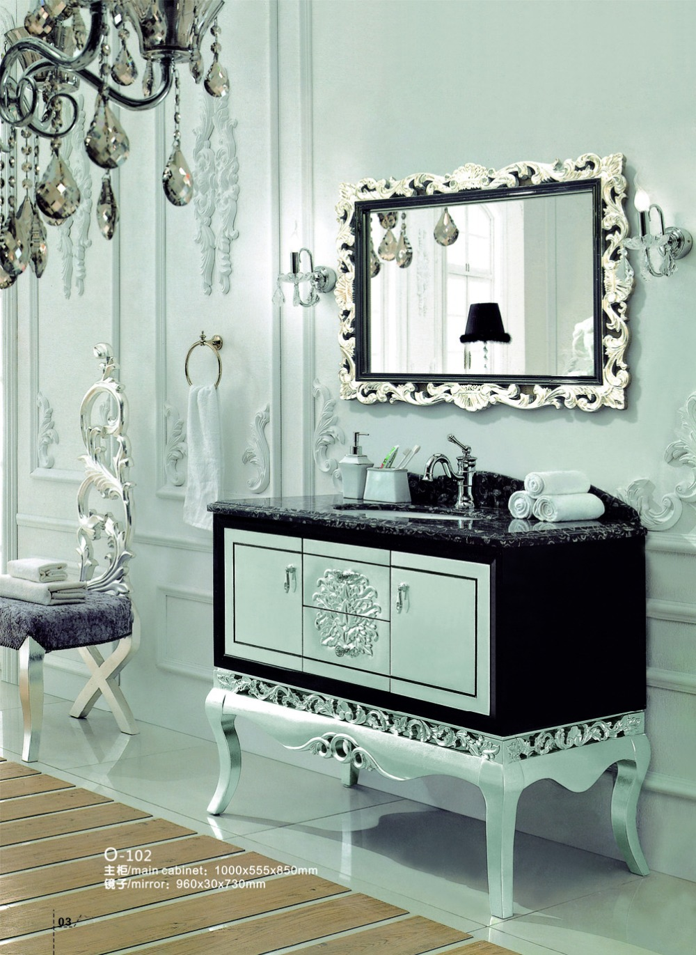 Solid Wood Bathroom Vanity With Mirror And Basin Furniture