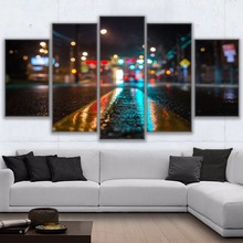Canvas Paintings Home Decor Wall Art HD Prints Pictures 5 Pieces New York Street Night Landscape Poster Living Room Frame cir new york esagona wall street 24x27 7