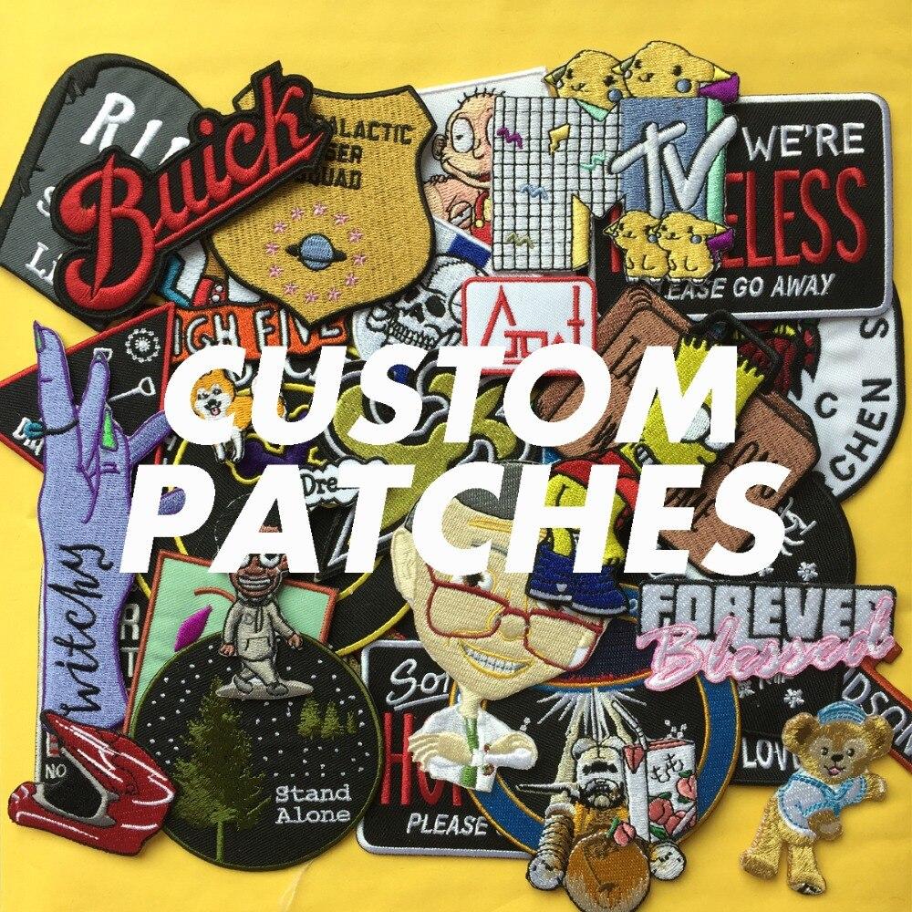 Personnalisé personnalisé patch de broderie bricolage votre propre nom de marque de design marque lettre grand motard militaire appliques patchs pour veste