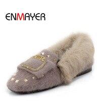 ENMAYER High Quality Hand Made 2017 Winter Casual Woman Shoes Flock Rivet Plush Shoes Flat Slip