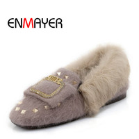 ENMAYER High Quality Hand Made 2018 Winter Casual Woman Shoes Flock Rivet Plush Shoes Flat Slip