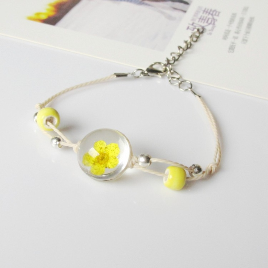 geekoplanet.com - Real Dry Flower Glass Ball Bracelets