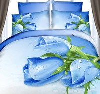3D Roses department store bedding set Blue floral duvet cover cal king size queen double fitted cotton bed sheet bedspreads 7pcs