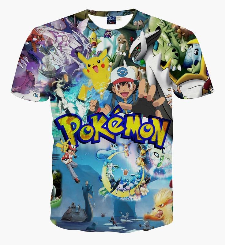 ⑤Hot Pokemon Go serie brillante 3D imprimir camiseta algodón Unisex ... a1425f28305