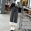 FINEWORDS 2017 Newest Summer Spring Vintage Coolest Grey High Waist Bottom Cuffs Spliced Wool Denim Flare Wide Leg Jeans Women