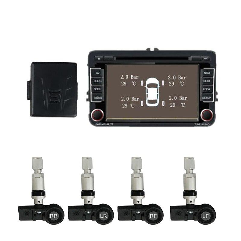 Système de surveillance de la pression des pneus de voiture Lenvio TPMS pour lecteur DVD de voiture Android avec 4 capteurs internes système de TPMS de voiture sans fil