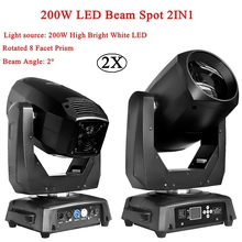цена на 2pcs/Lot Professional DMX Beam Spot 2in1 LED Moving Head Light 8 Facet Prism LED Spot Moving Head Dj Disco Stage Party Lights