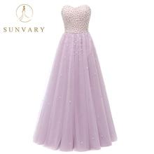 Sunvary Mutiara Ball Gown Quinceanera Dresses Sayang Lantai Disesuaikan Panjang Tanpa Lengan Permen Warna Kristal 16 T Dresses