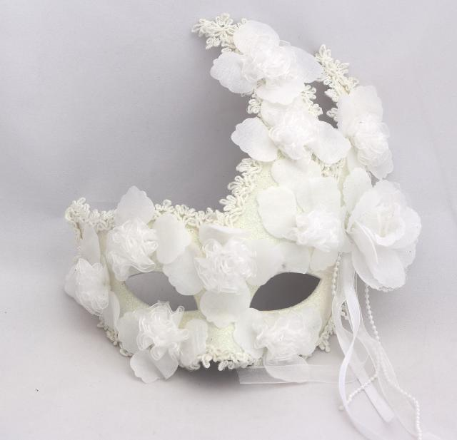 Male and female models plus feather flower lace white full face mask male and female models plus feather flower lace white full face mask princess masquerade mask venetian masks 100pcslot in party masks from home garden on mightylinksfo