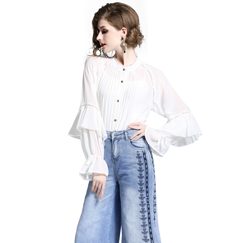 Fall celebrity fashion lace long-sleeved chiffon top + wide-legged embroidered jeans trousers two suits
