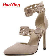 shoes woman sandals 2016 Sexy nude Pumps pointed Toe High Heels Shoes gladiator sandals women High Heel Sandals party Shoes D397