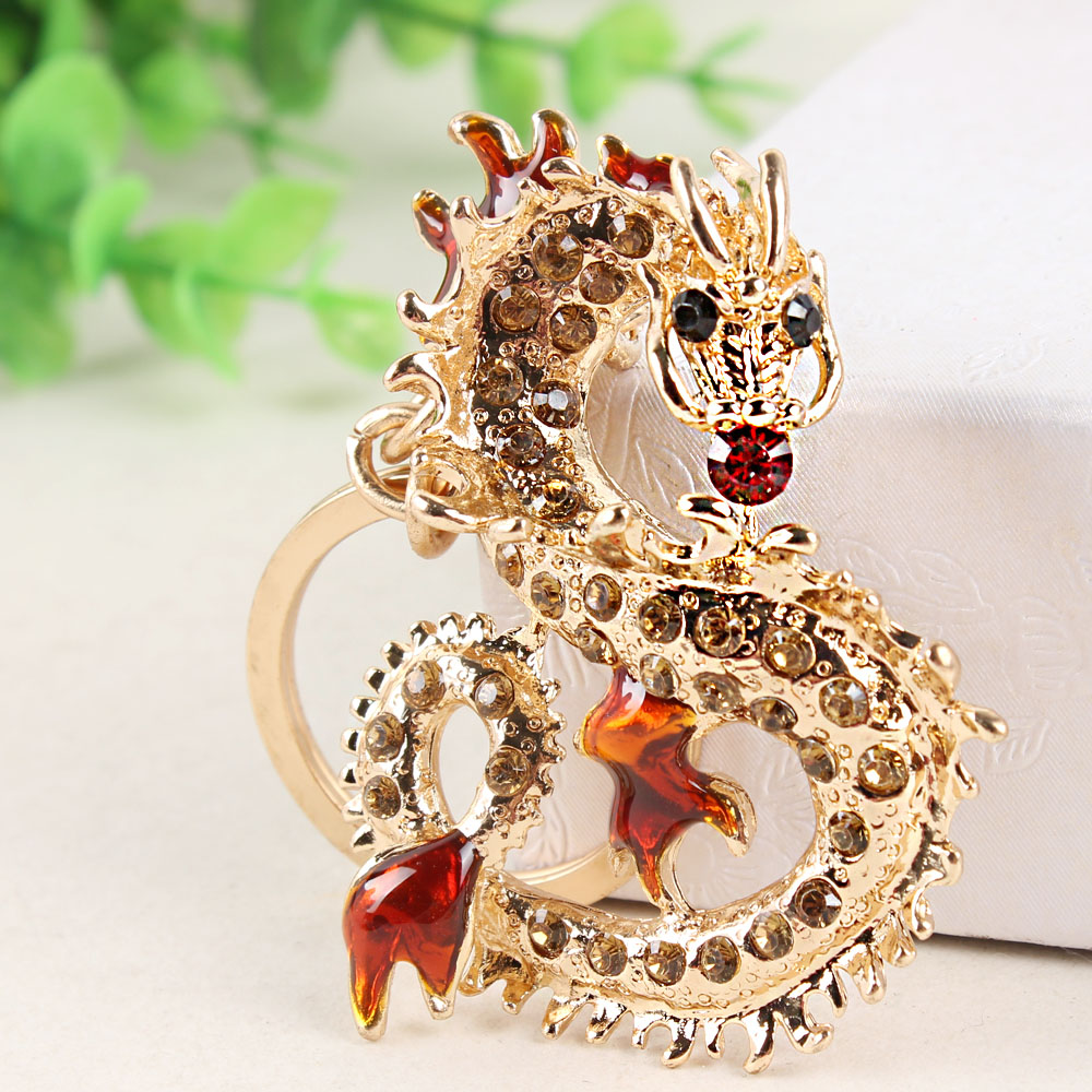 Long Chinese Dragon New Pendant Crystal Charm Purse Handbag Car Key Keyring Keychain Koleksi Hadiah Kreatif halus