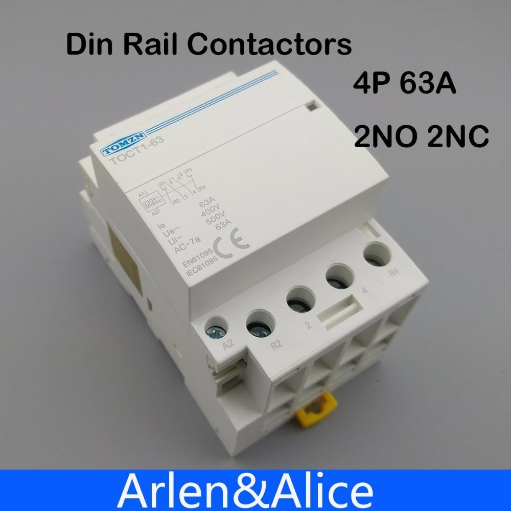 TOCT1 4 P 63A 2NC 2NO 220 V bobine 400V ~ 50/60 HZ rail Din Ménage ac Modulaire contacteur