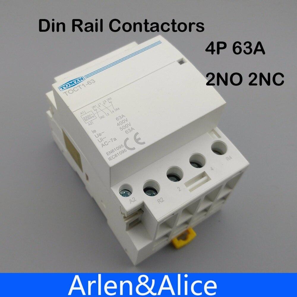 TOCT1 4P 63A 2NC 2NO 220V coil 400V~ 50/60HZ Din rail Household ac Modular contactor toct1 4p 63a 230v ac dc coil 50 60hz din rail household ac modular contactor