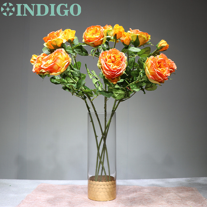 Orange Tea Rose 5 Stems Lot Camellia Decorative Flower Silk Flower Rose Wedding Party Flower Event Free Shipping in Artificial Dried Flowers from Home Garden