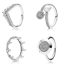 купить Silver Ring Charms Crystal Queen Crown Finger Ring With Pearl For Women Wedding Party Jewlery по цене 197.33 рублей