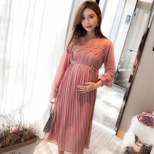 High Quality Chiffon Dresses Maternity Clothes For Pregnant Women Long Sleeve Pleated Dresses Pregnancy Maternity Vestido Spring cheap A-Line Polyester Full XEIOBB Mid-Calf Boat Neck Lace Formal Solid Natural Color
