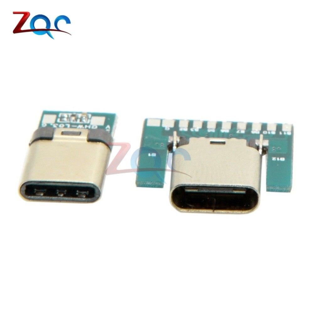 USB 3,1 Тип C разъем 24 контакта гнездо адаптер розеток для припоя провода и кабеля 24 P PCB плата модуль поддержки