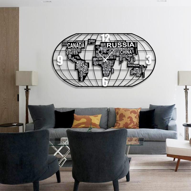 Promotion Relogios De Parede Clock Wall World Map Clock Mute Living Room Quartz Metal Europe Needle