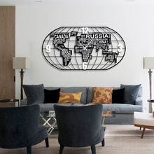 Продвижение Relogios де Parede Часы настенные карта мира часы немой гостиная Кварцевый Металл Европа игла геометрические разделители