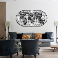 Promotion Relogios De Parede Clock Wall World Map Clock Mute Living Room Quartz Metal Europe Needle Geometric Separates