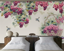 beibehang Custom Super Silky 3d Wallpaper New Fashion Personality Hand Painted Purple Grape Background wall papers home decor