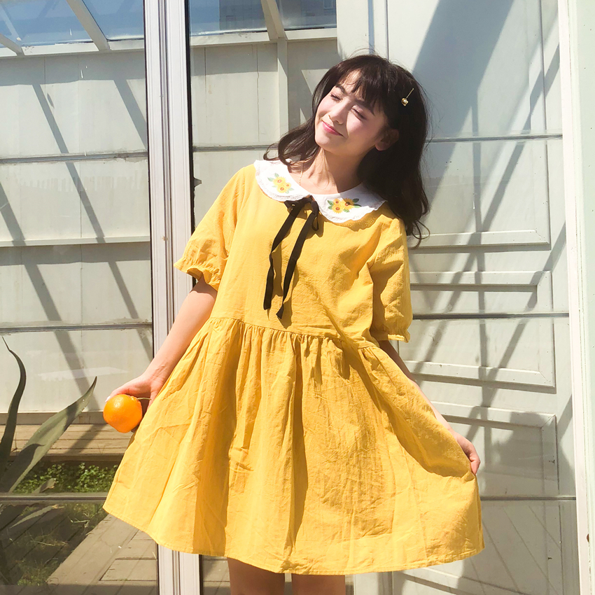 Japanese Sweet <font><b>Dress</b></font> Women <font><b>Sunflower</b></font> Embroidery Peter Pan Collar High Waist <font><b>Dress</b></font> New Fashion Cute Stuff <font><b>Yellow</b></font> <font><b>Dress</b></font> Female image