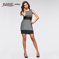 2015 Women Summer Belted Elegant Floral Print Check Cap Sleeve Tunic Work Business Casual Party Pencil