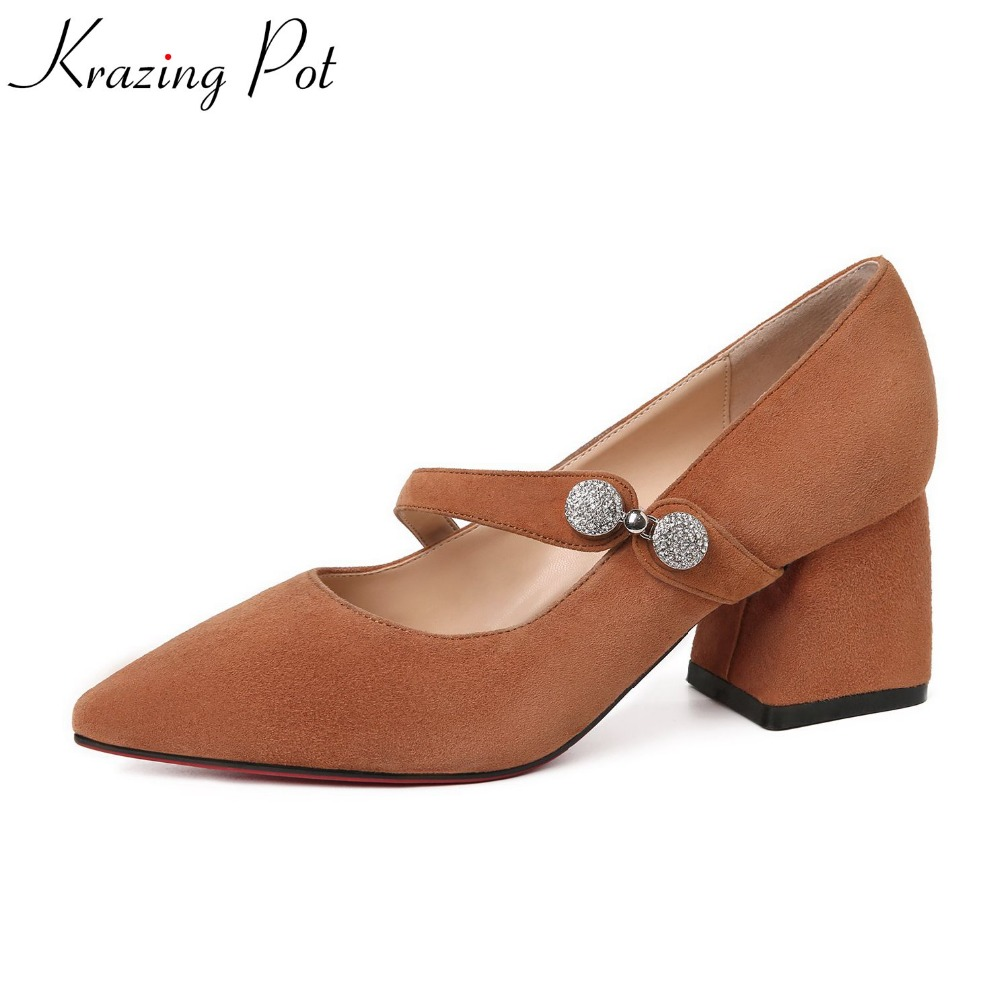 krazing Pot kid suede shallow solid sweet classic women pumps buckle strap med heel pointed toe office lady mary janes shoes L13 krazing pot shallow sheep suede metal buckle thick high heels pointed toe pumps princess style solid office lady work shoes l05