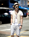 Mens Fashion Sleeveless Jacket Summer Casual Vest Slim Male Waistcoats Single Breasted Short Vests Man Spring Waistcoat J1145