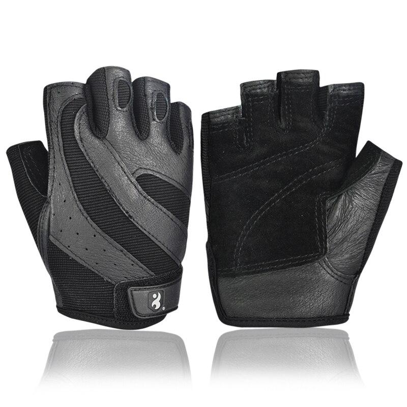 Boodun Gym Gloves Men Body Building Half Finger Fitness Gloves An slip Weight Lifting Sports Training Fingerless Gloves Black